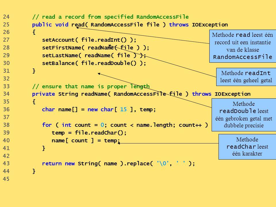 Methode readInt leest één geheel getal