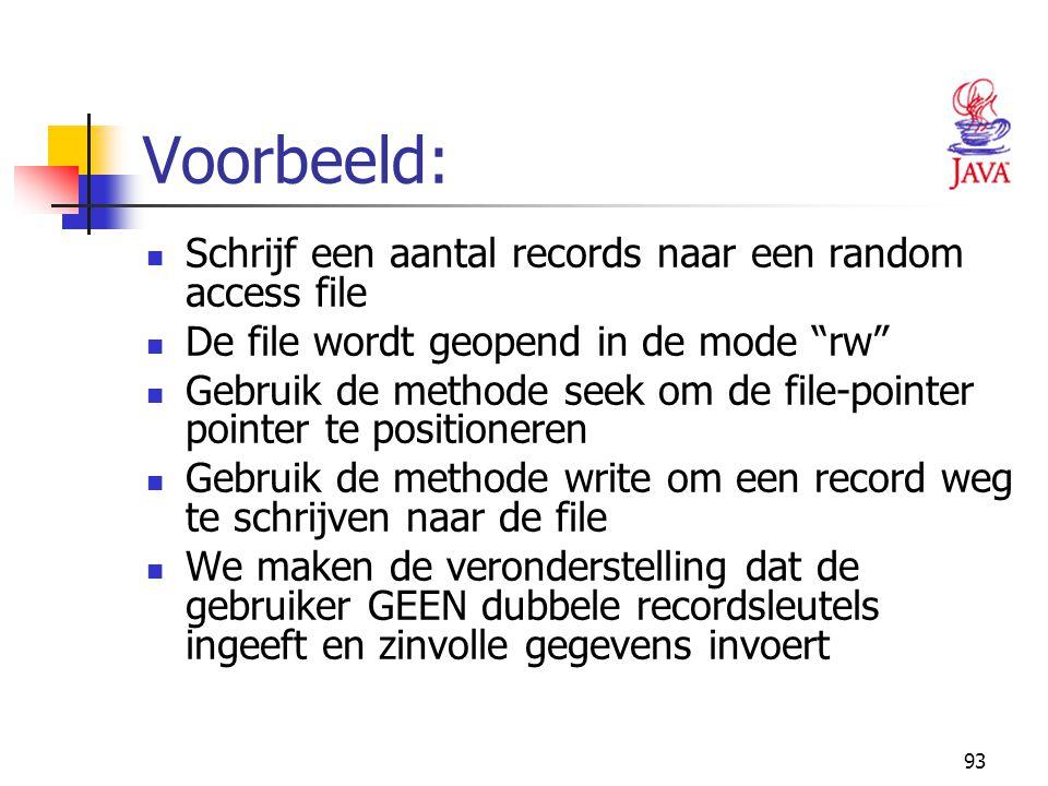 Voorbeeld: Schrijf een aantal records naar een random access file