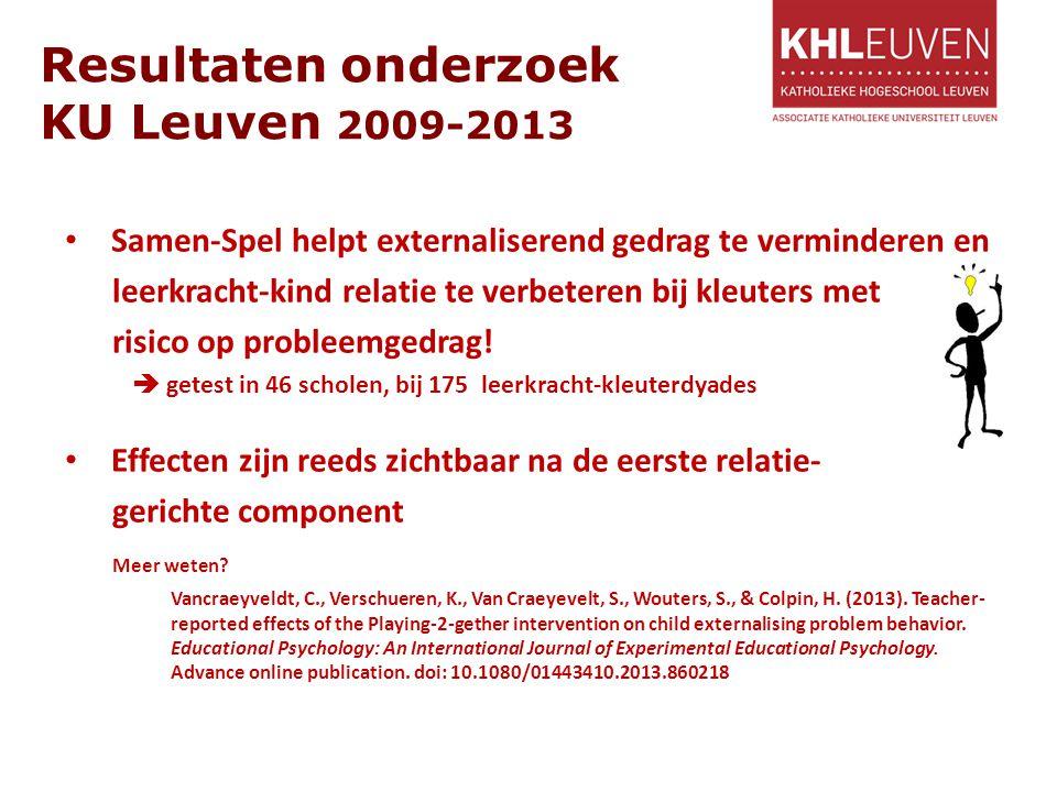 Resultaten onderzoek KU Leuven 2009-2013