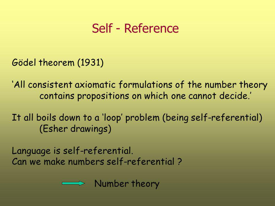 Self - Reference Gödel theorem (1931)
