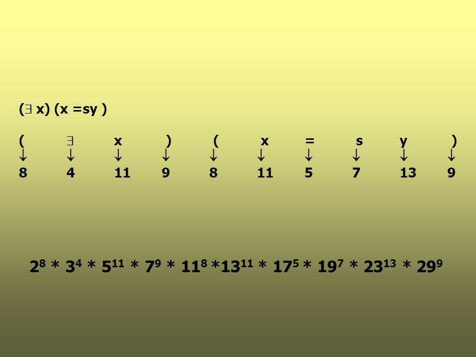 ( x) (x =sy ) (  x ) ( x = s y )           8 4 11 9 8 11 5 7 13 9.