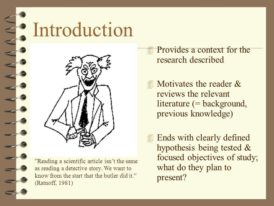 Introduction Provides a context for the research described