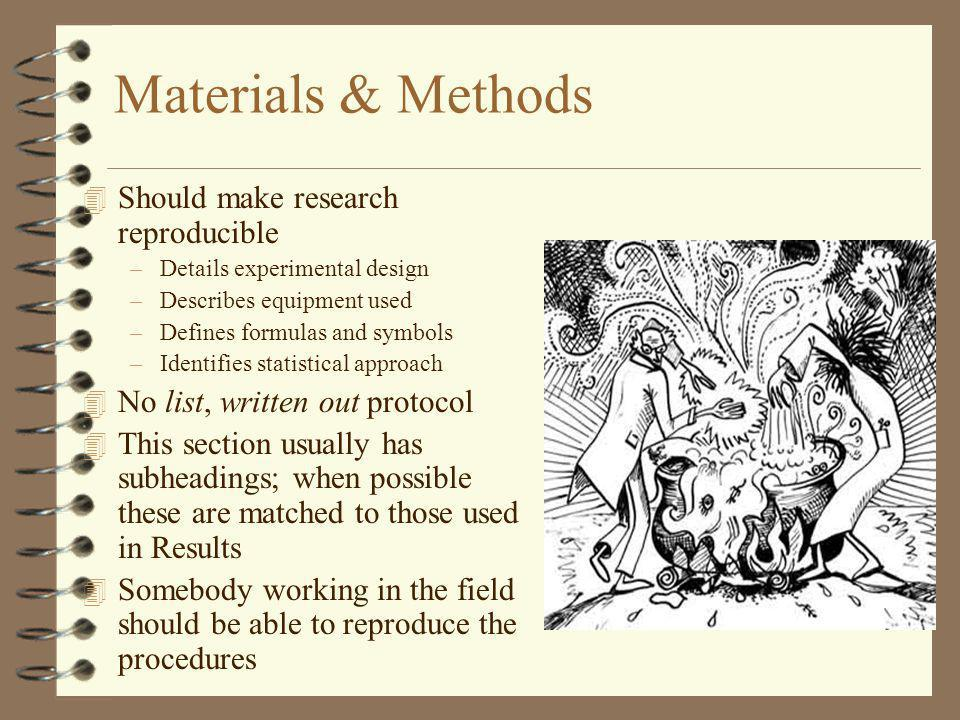 Materials & Methods Should make research reproducible