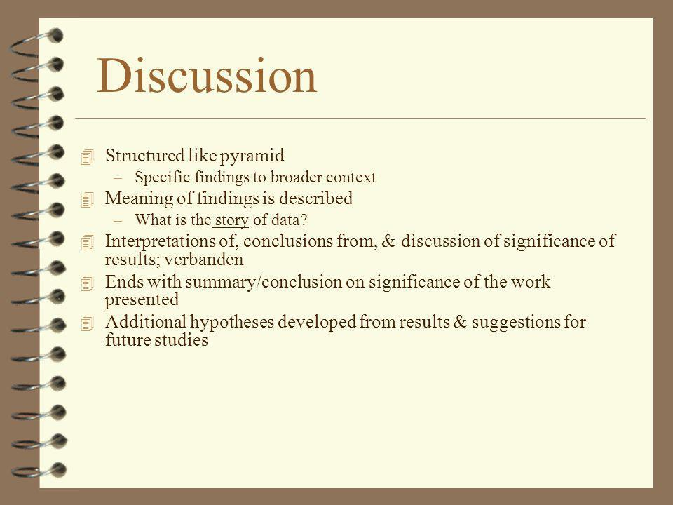 Discussion Structured like pyramid Meaning of findings is described