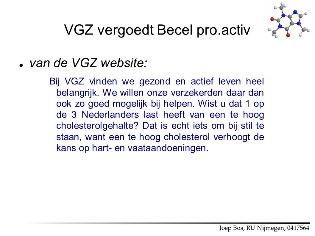 VGZ vergoedt Becel pro.activ