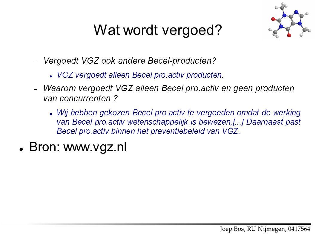 Wat wordt vergoed Bron: www.vgz.nl