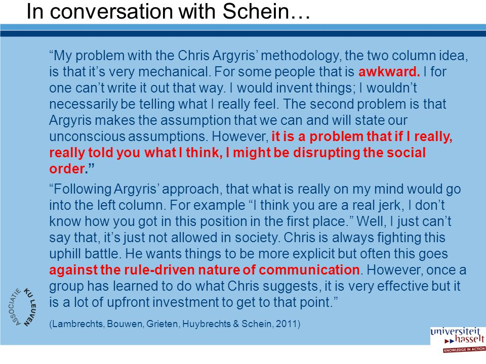 In conversation with Schein…