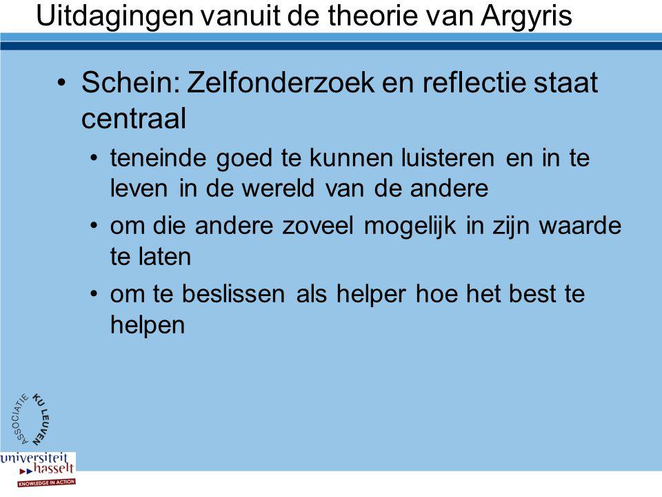 Uitdagingen vanuit de theorie van Argyris