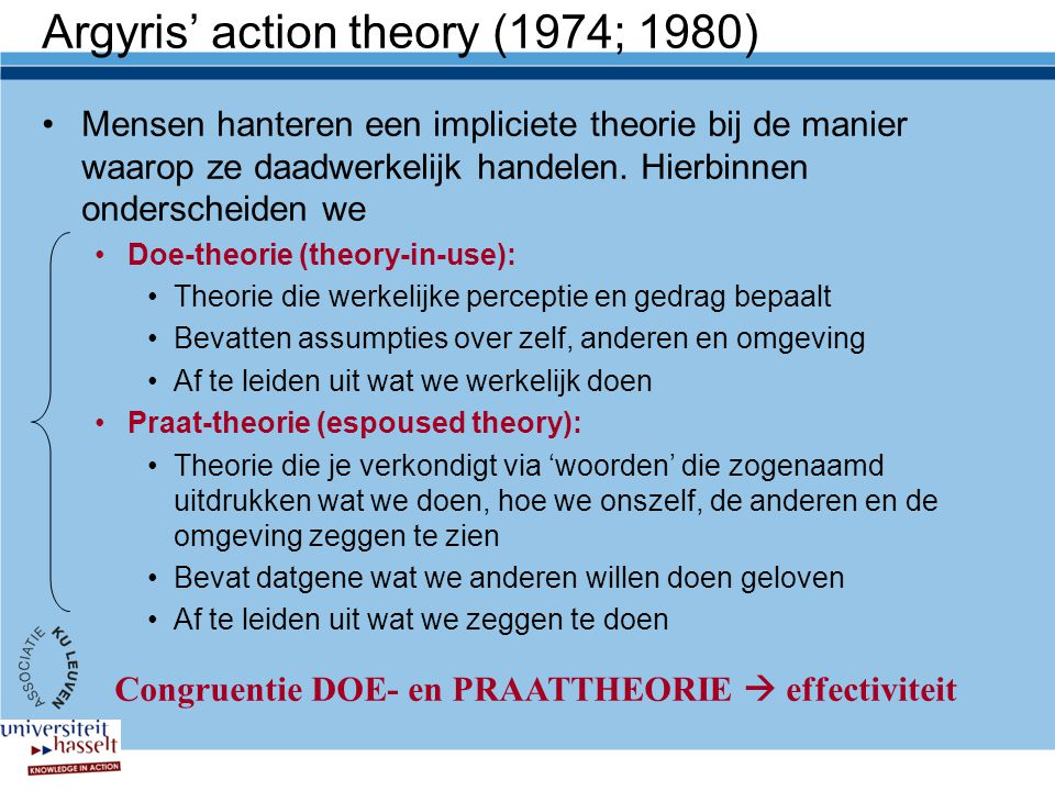 Argyris' action theory (1974; 1980)