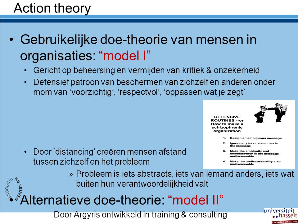 Gebruikelijke doe-theorie van mensen in organisaties: model I