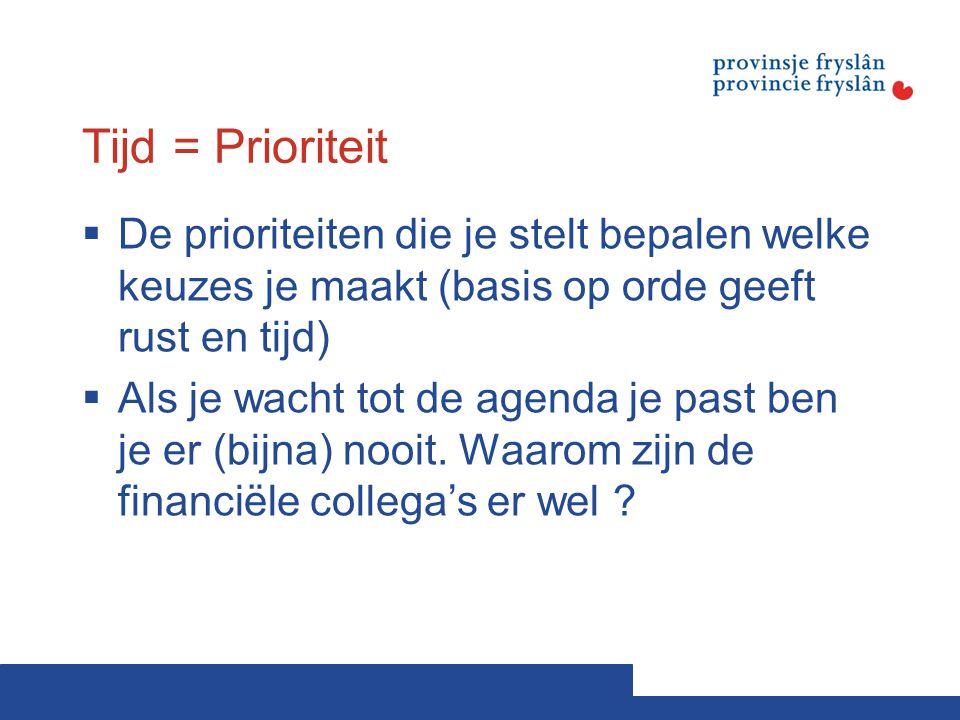 Tijd = Prioriteit De prioriteiten die je stelt bepalen welke keuzes je maakt (basis op orde geeft rust en tijd)