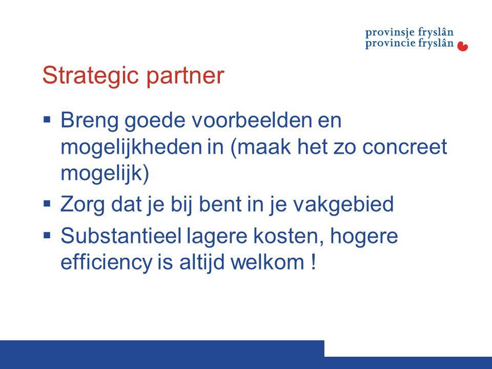Strategic partner Breng goede voorbeelden en mogelijkheden in (maak het zo concreet mogelijk) Zorg dat je bij bent in je vakgebied.