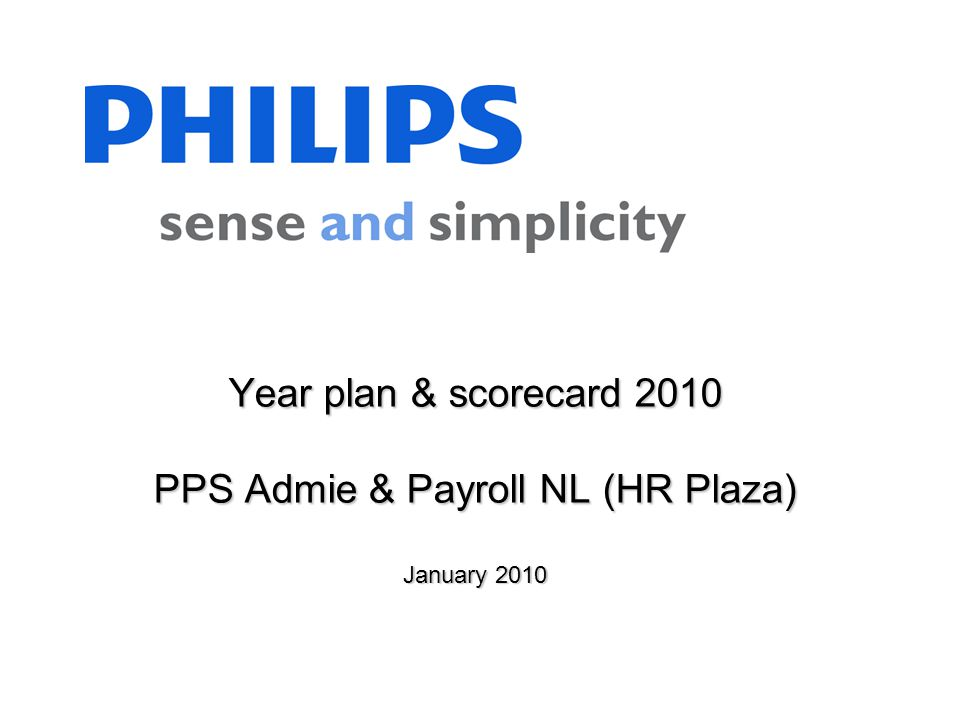 Year plan & scorecard 2010 PPS Admie & Payroll NL (HR Plaza) January 2010