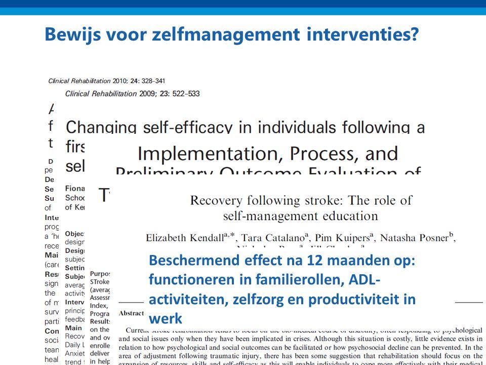 Bewijs voor zelfmanagement interventies