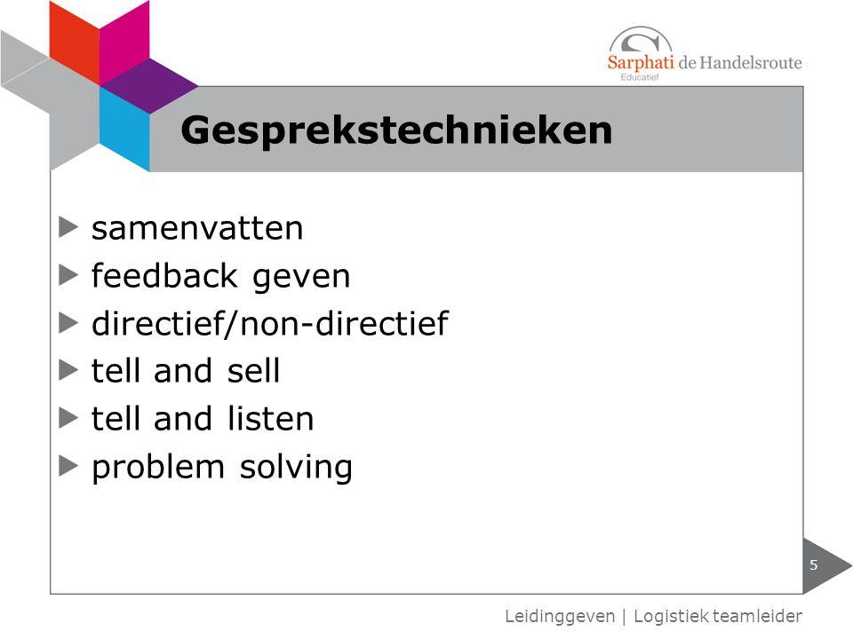 Gesprekstechnieken samenvatten feedback geven directief/non-directief