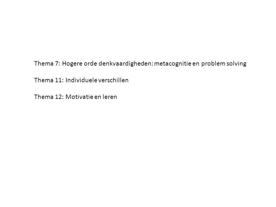 Thema 7: Hogere orde denkvaardigheden: metacognitie en problem solving