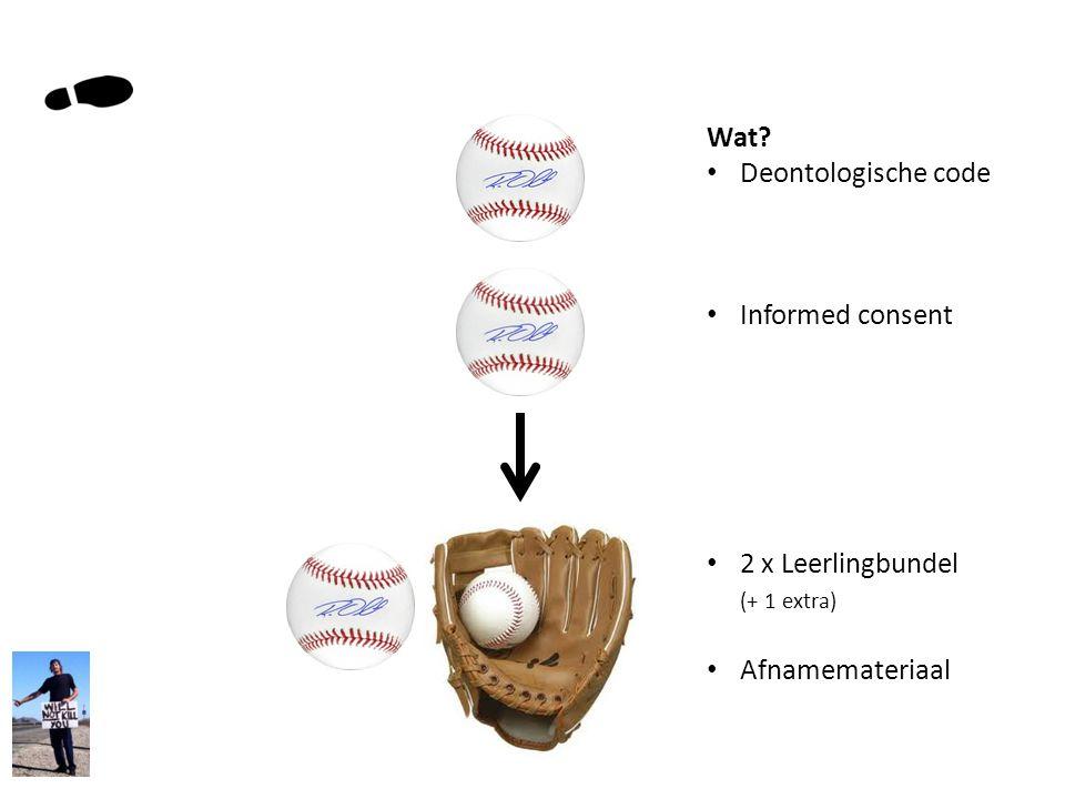Wat Deontologische code Informed consent 2 x Leerlingbundel (+ 1 extra) Afnamemateriaal
