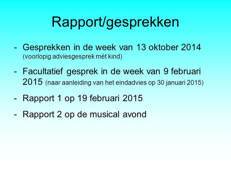 Rapport/gesprekken Gesprekken in de week van 13 oktober 2014 (voorlopig adviesgesprek mét kind)