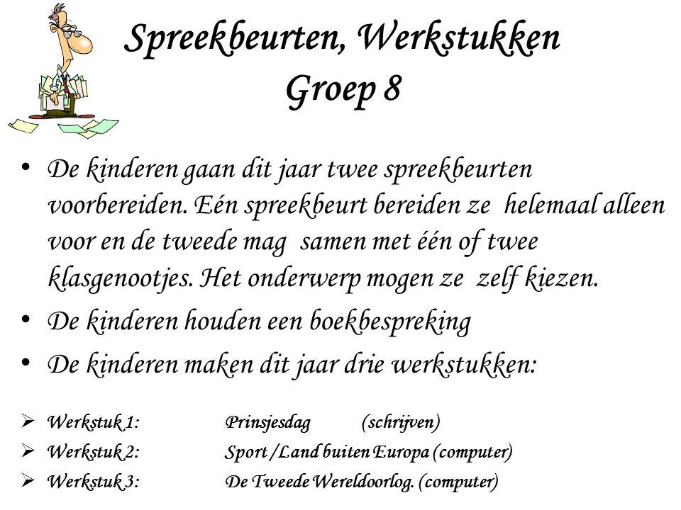 Spreekbeurten, Werkstukken Groep 8