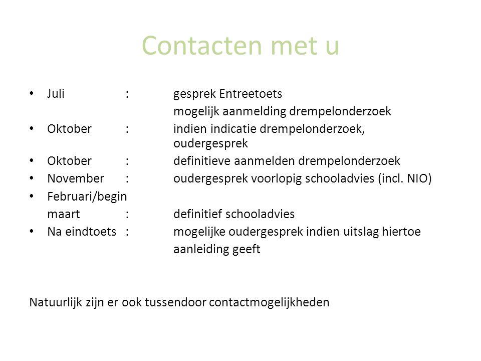 Contacten met u Juli : gesprek Entreetoets