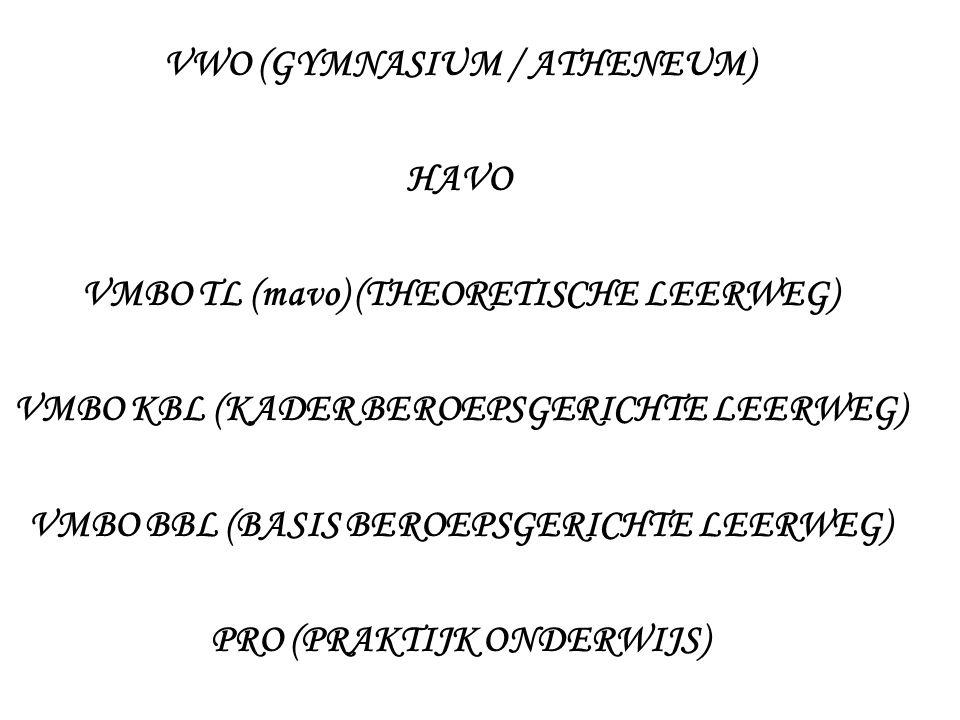 VWO (GYMNASIUM / ATHENEUM) HAVO VMBO TL (mavo) (THEORETISCHE LEERWEG) VMBO KBL (KADER BEROEPSGERICHTE LEERWEG) VMBO BBL (BASIS BEROEPSGERICHTE LEERWEG) PRO (PRAKTIJK ONDERWIJS)