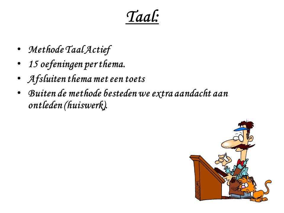 Taal: Methode Taal Actief 15 oefeningen per thema.