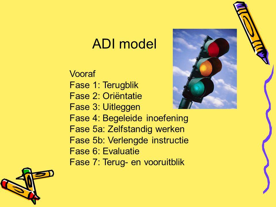 ADI model Vooraf Fase 1: Terugblik Fase 2: Oriëntatie