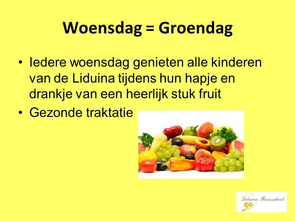 Woensdag = Groendag Iedere woensdag genieten alle kinderen van de Liduina tijdens hun hapje en drankje van een heerlijk stuk fruit.