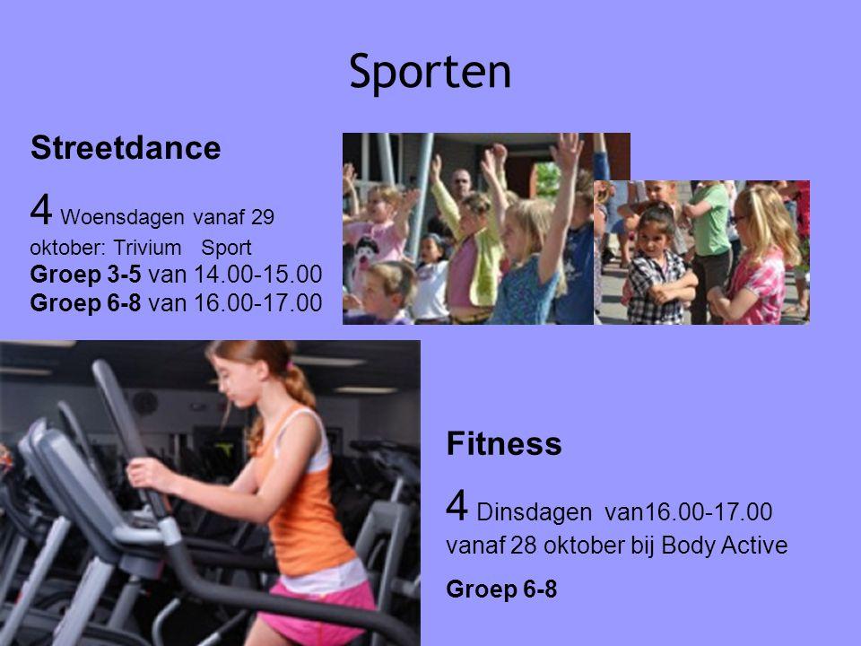 Sporten 07-01-12. Streetdance. 4 Woensdagen vanaf 29 oktober: Trivium Sport Groep 3-5 van 14.00-15.00 Groep 6-8 van 16.00-17.00.