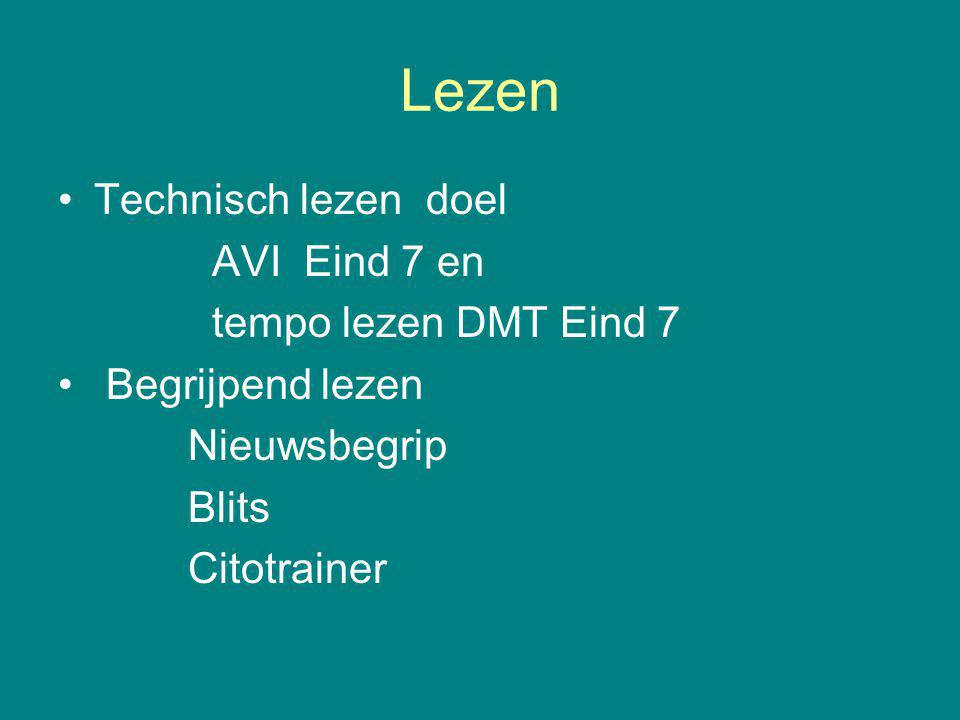 Lezen Technisch lezen doel AVI Eind 7 en tempo lezen DMT Eind 7