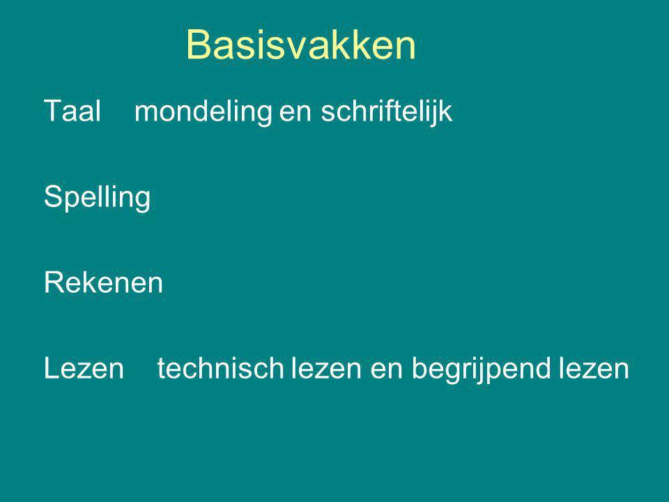 Basisvakken Taal mondeling en schriftelijk Spelling Rekenen