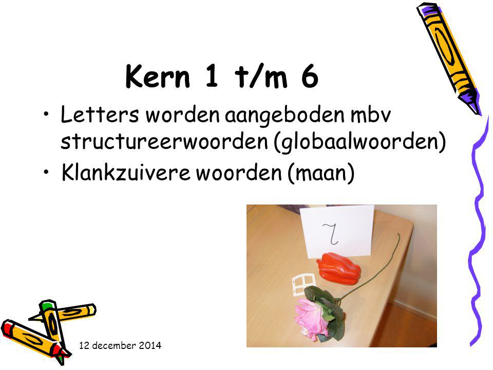 Kern 1 t/m 6 Letters worden aangeboden mbv structureerwoorden (globaalwoorden) Klankzuivere woorden (maan)
