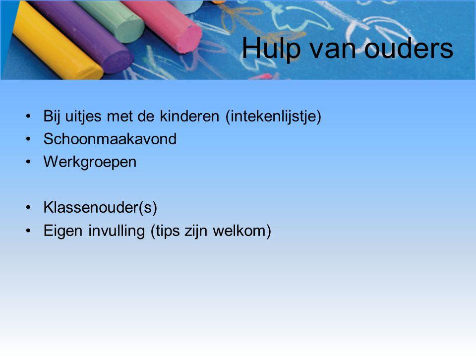 Hulp van ouders Bij uitjes met de kinderen (intekenlijstje)
