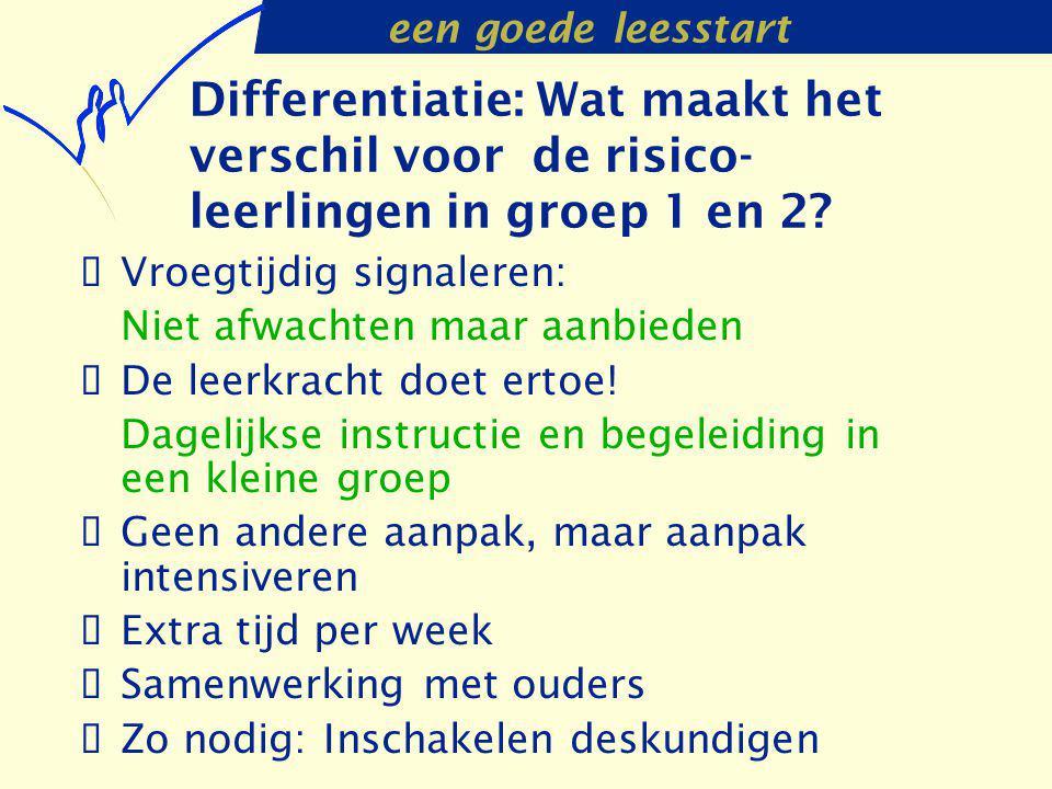 een goede leesstart Differentiatie: Wat maakt het verschil voor de risico- leerlingen in groep 1 en 2