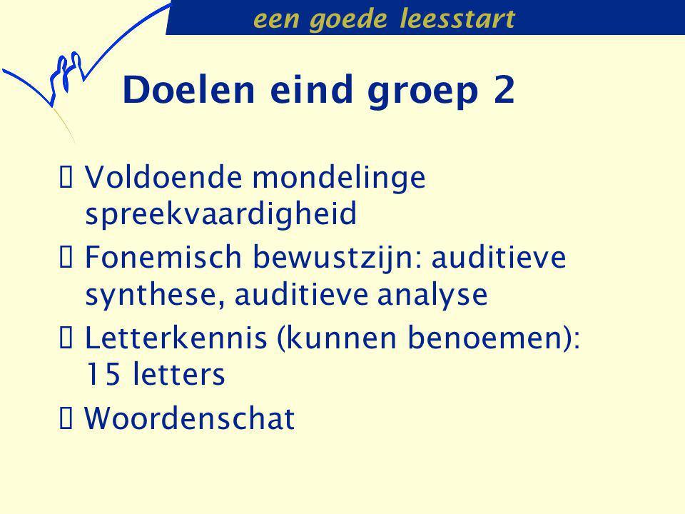 Doelen eind groep 2 Voldoende mondelinge spreekvaardigheid