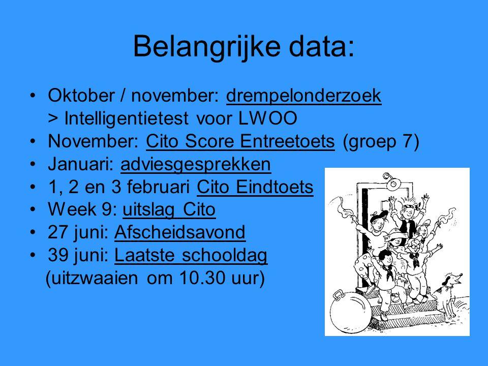 Belangrijke data: Oktober / november: drempelonderzoek