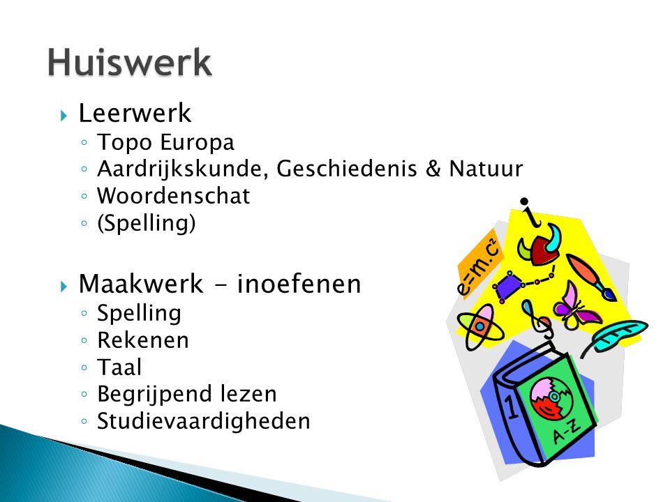 Huiswerk Leerwerk Maakwerk - inoefenen Topo Europa