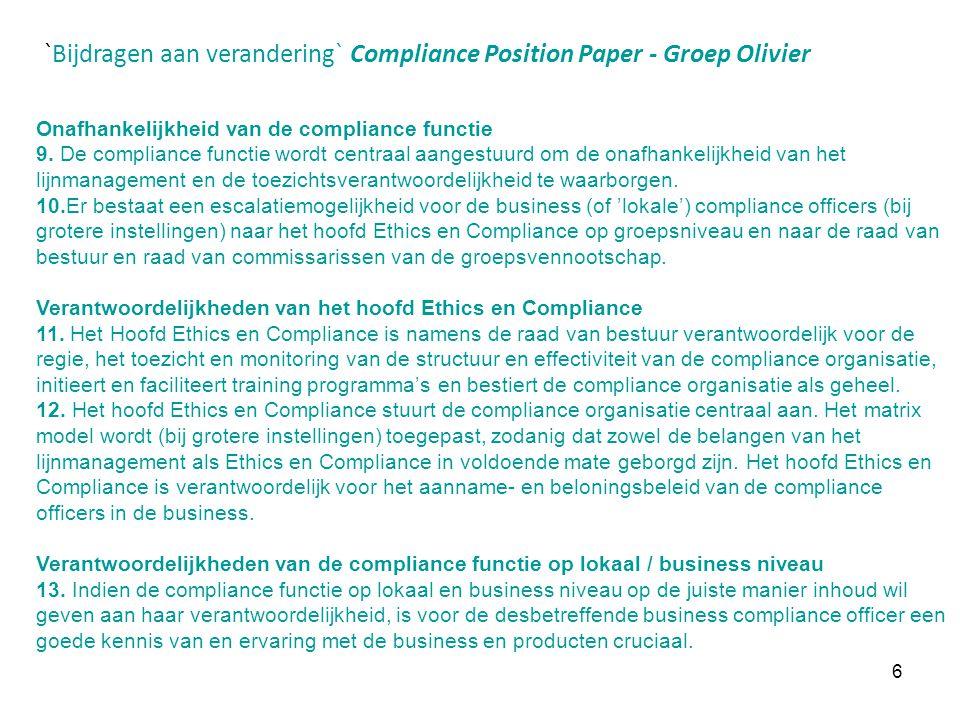 `Bijdragen aan verandering` Compliance Position Paper - Groep Olivier