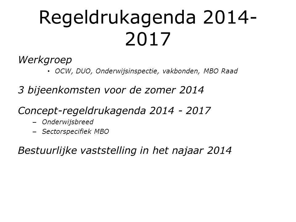Regeldrukagenda 2014-2017 Werkgroep 3 bijeenkomsten voor de zomer 2014