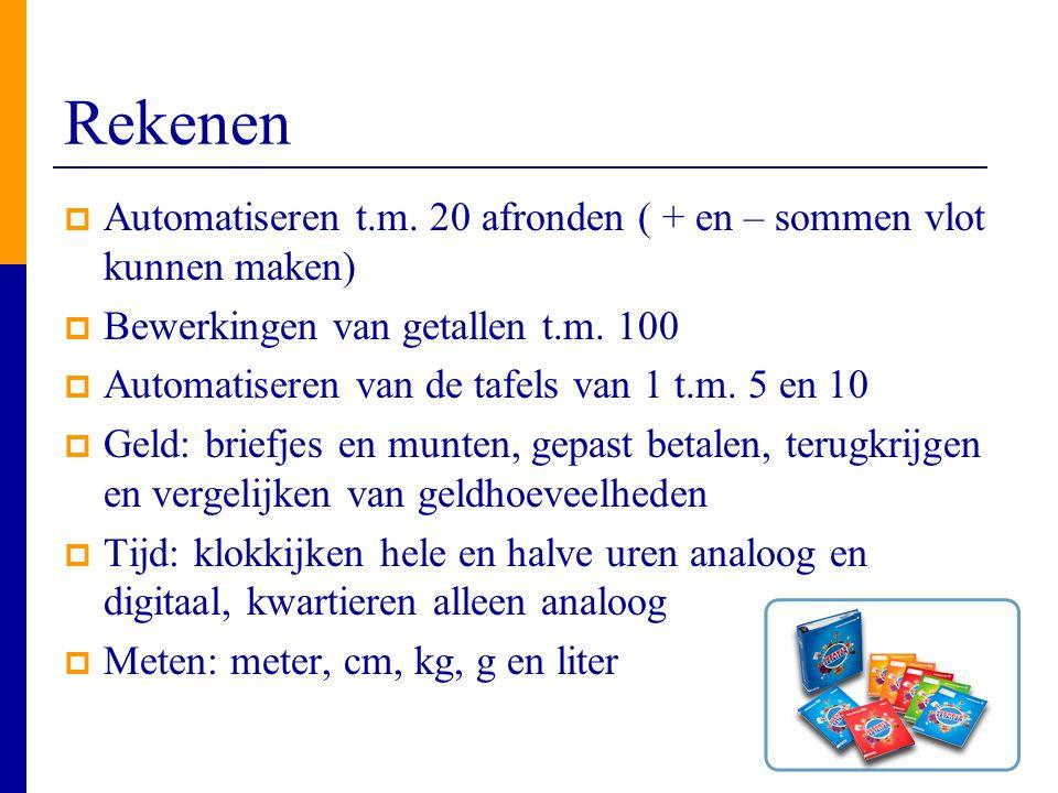 Rekenen Automatiseren t.m. 20 afronden ( + en – sommen vlot kunnen maken) Bewerkingen van getallen t.m. 100.