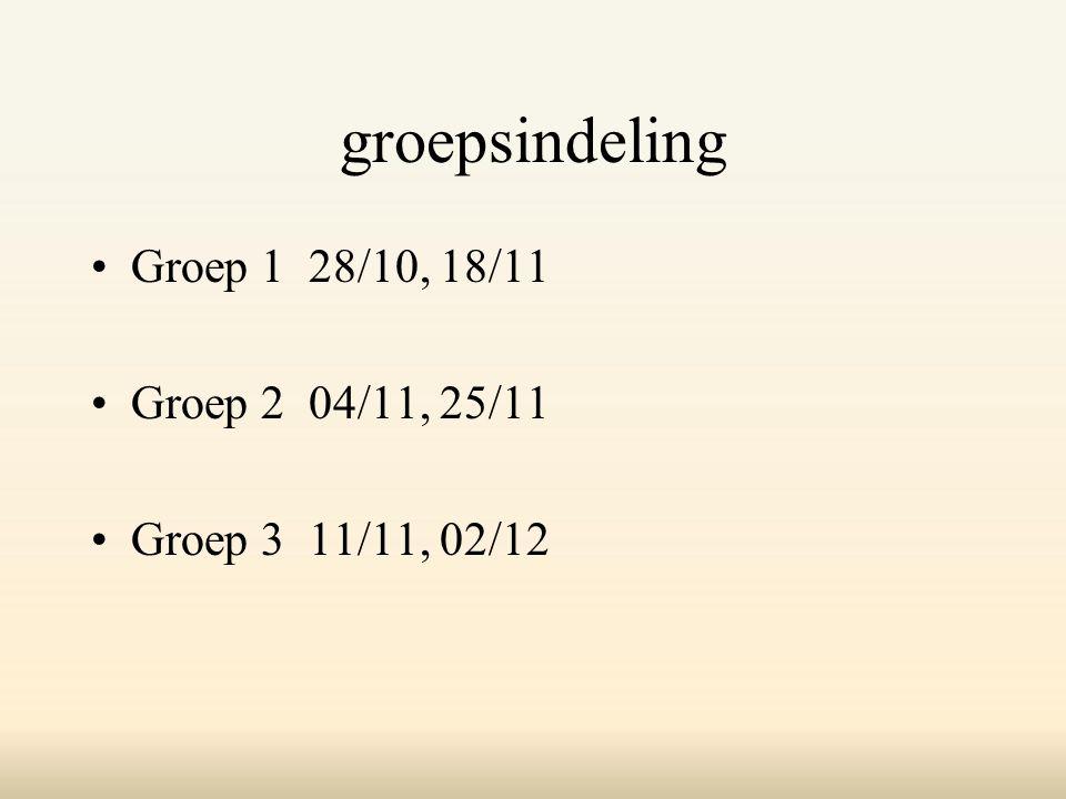 groepsindeling Groep 1 28/10, 18/11 Groep 2 04/11, 25/11
