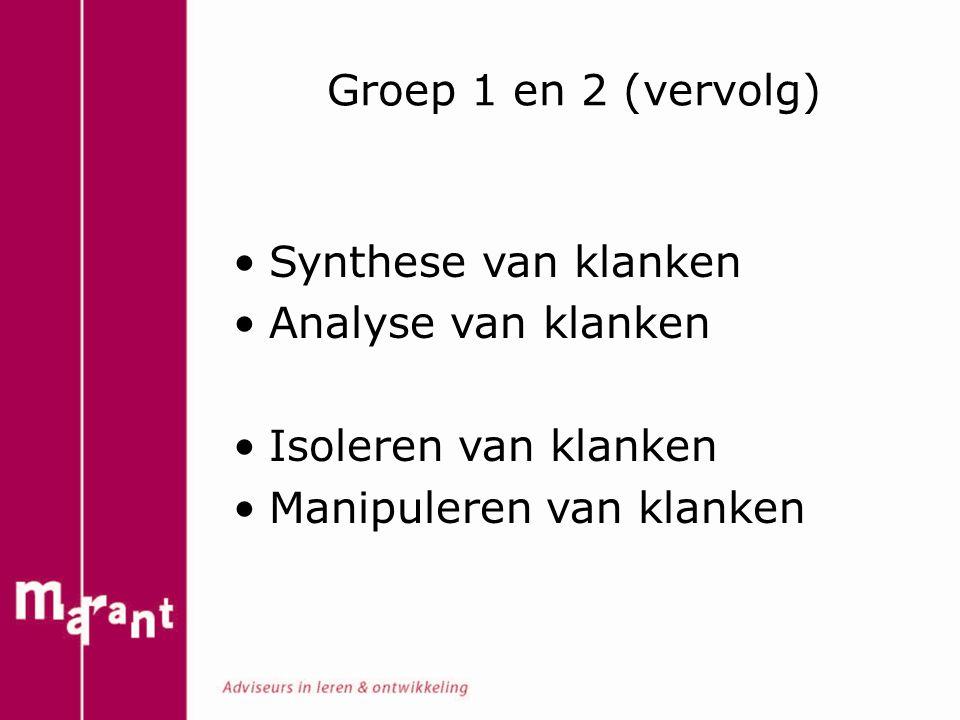 Groep 1 en 2 (vervolg) Synthese van klanken. Analyse van klanken.