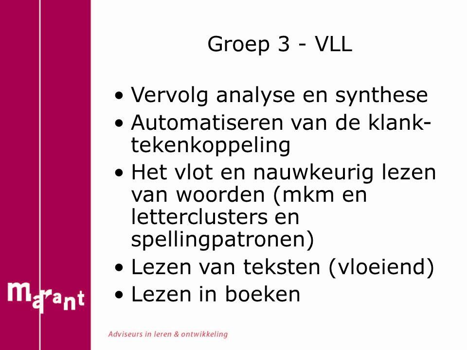 Groep 3 - VLL Vervolg analyse en synthese. Automatiseren van de klank-tekenkoppeling.