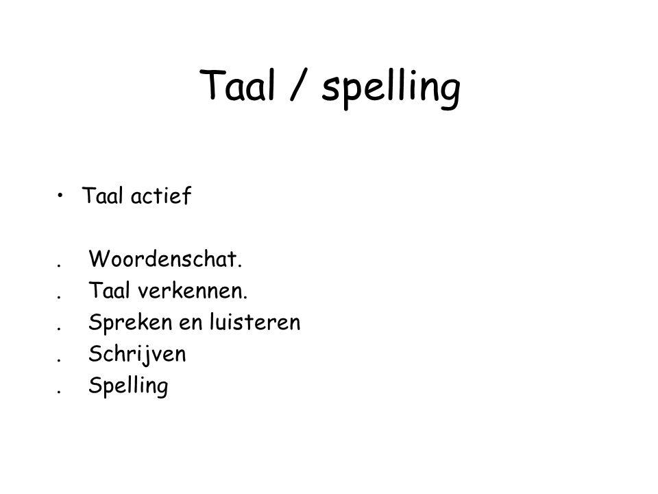 Taal / spelling Taal actief . Woordenschat. . Taal verkennen.