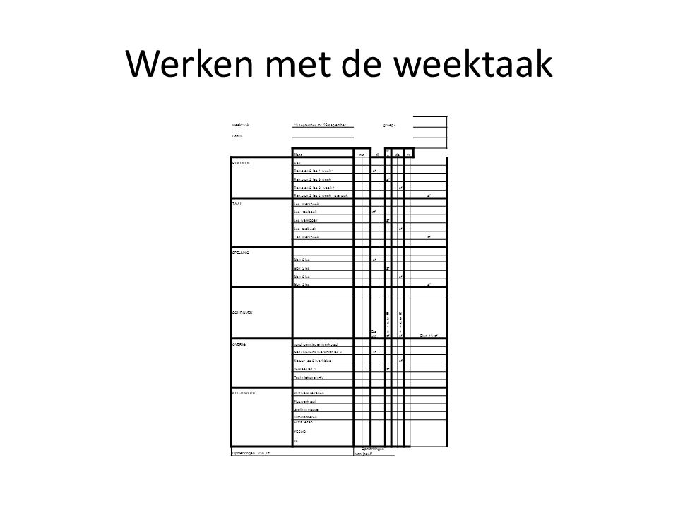 Werken met de weektaak weektaak 23 september tot 26 september groep 4
