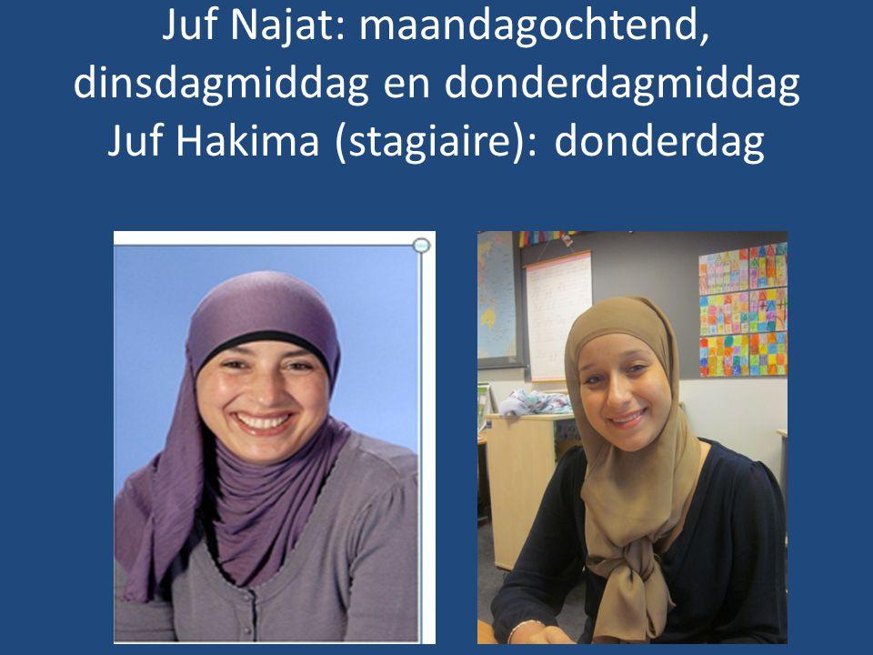 Juf Najat: maandagochtend, dinsdagmiddag en donderdagmiddag Juf Hakima (stagiaire): donderdag