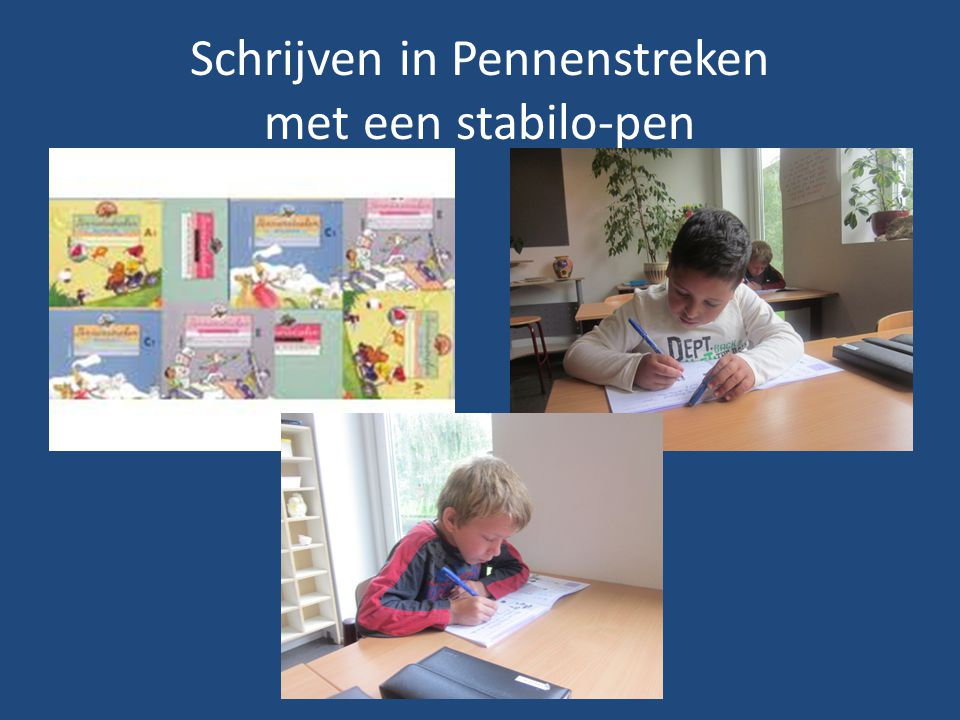 Schrijven in Pennenstreken met een stabilo-pen