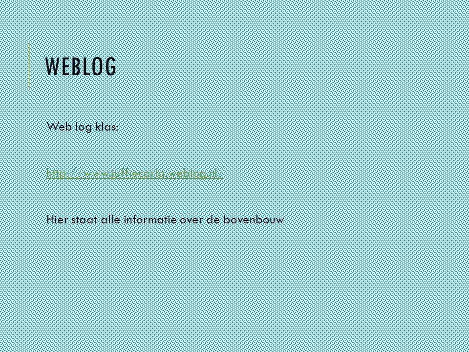Weblog Web log klas: http://www.juffiecarla.weblog.nl/