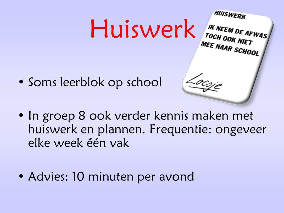 Huiswerk Soms leerblok op school