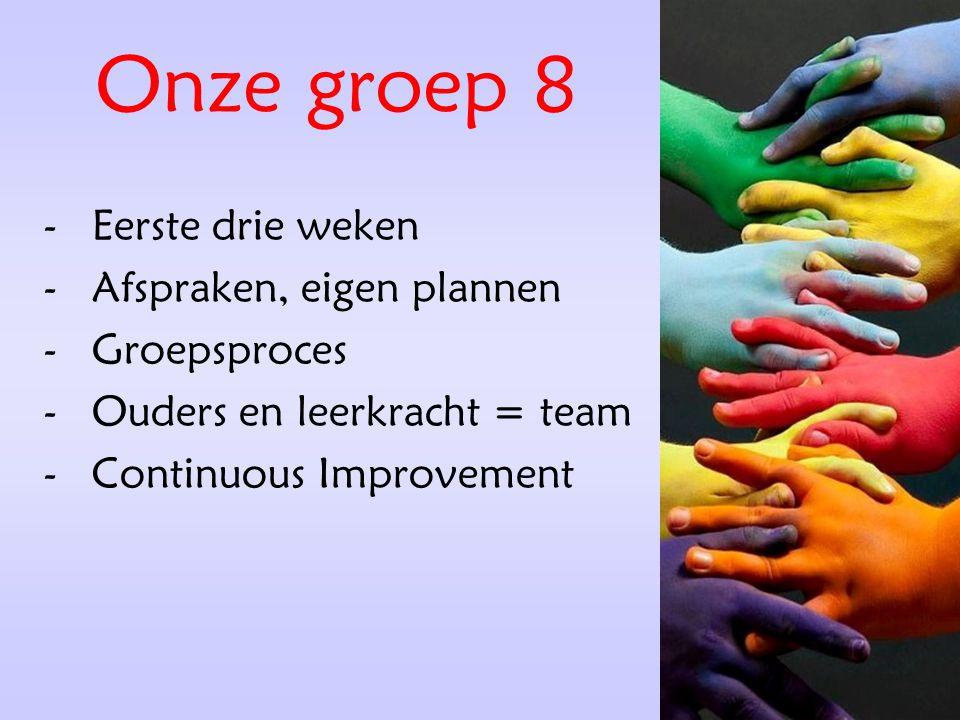 Onze groep 8 Eerste drie weken Afspraken, eigen plannen Groepsproces